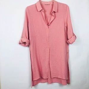 Soft Surroundings pink tunic collared top 465